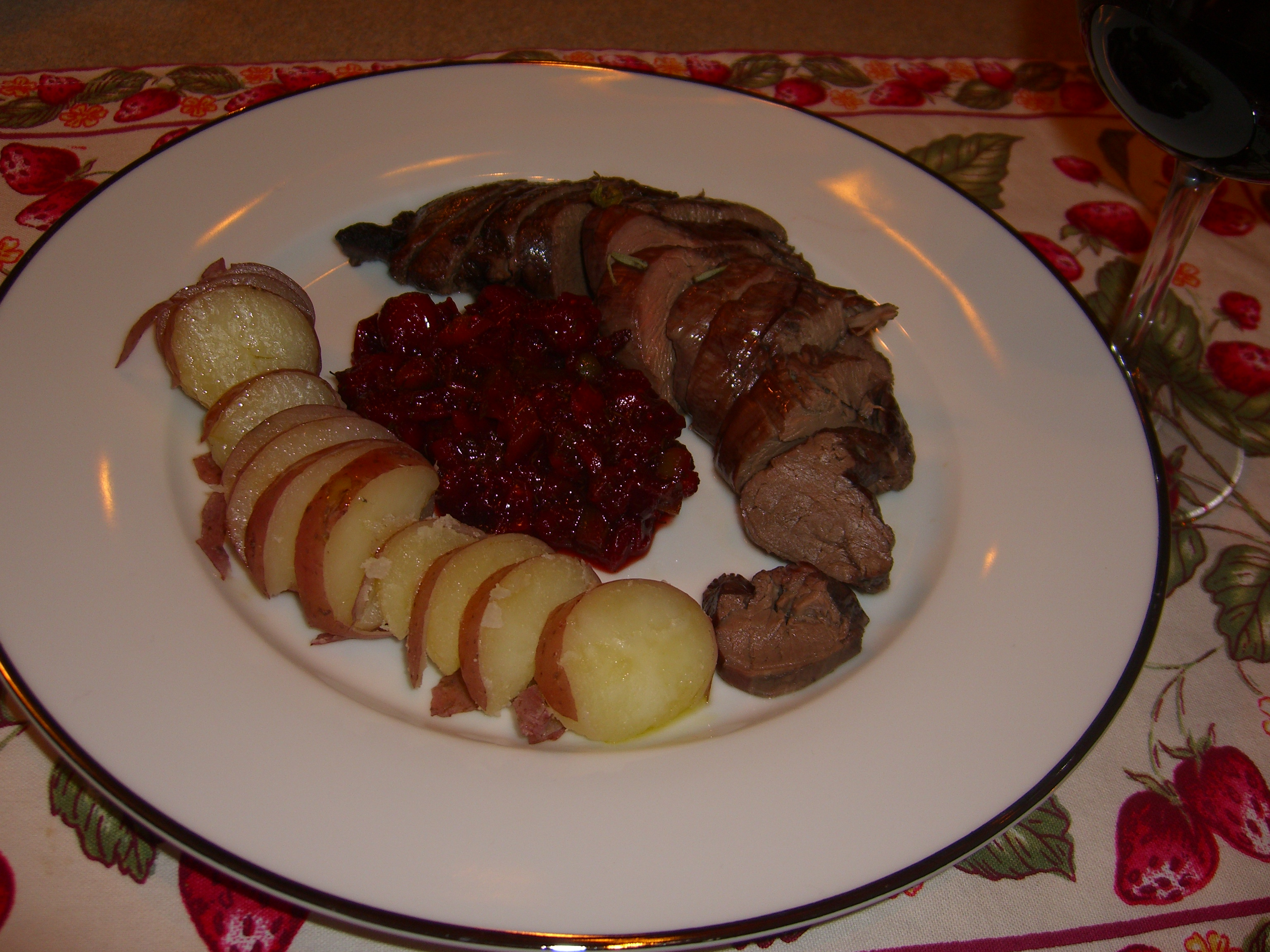 cranberry dill sauce with venison tenderloin