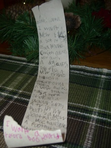 This list is comprehensive but not complete...Santa must fill in missing categories.