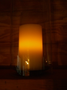Pottery Barn wickless candles--great for ambience but useless as a heat source.