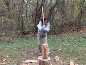 At least one girl tried splitting wood--she was pretty good at it!