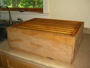 Honey box filled with honey